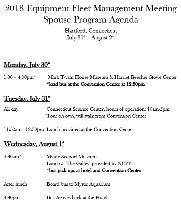 EMTSP National 2018 Spouse Agenda